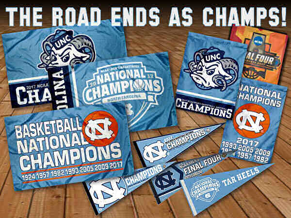 North Carolina Tar Heels National Champions Flags and Banners