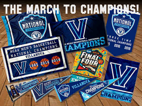 Villanova Basketball Final Four Champions Flags and Pennants