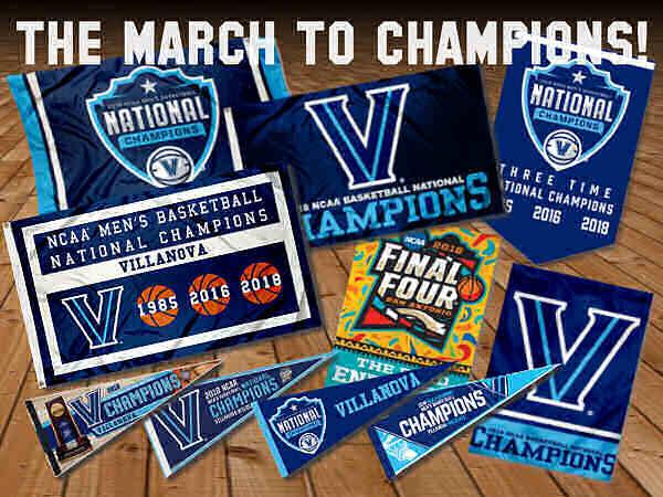 Villanova Basketball Final Four Champions Flags and Pennants