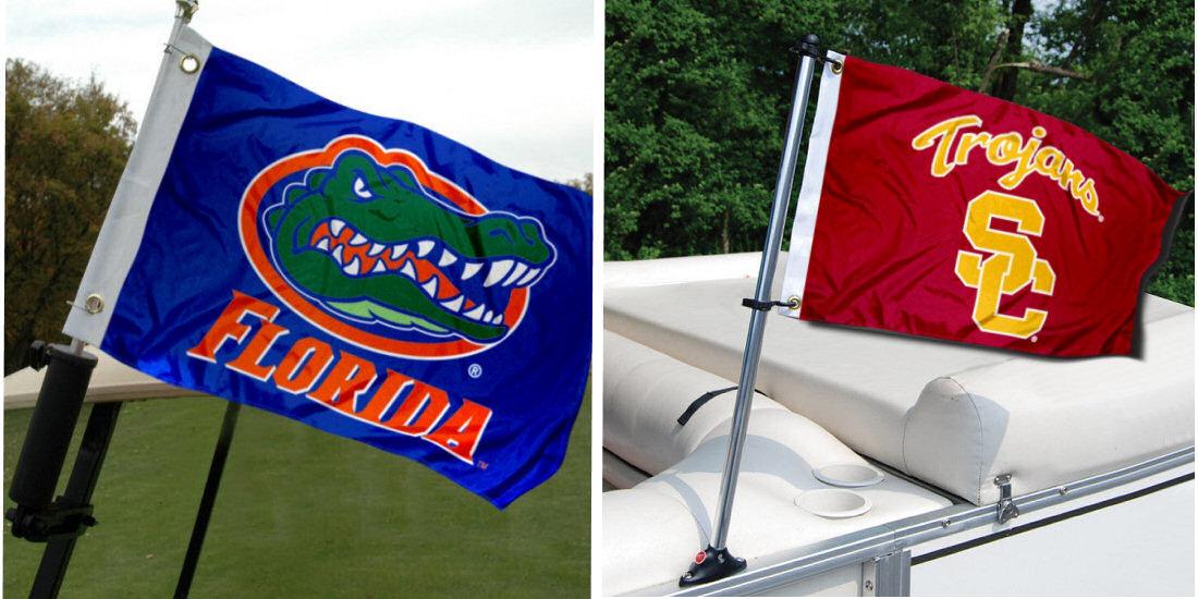 College Boat Flags from Pontoon Boat