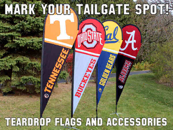 College Feather and Teardrop Flags