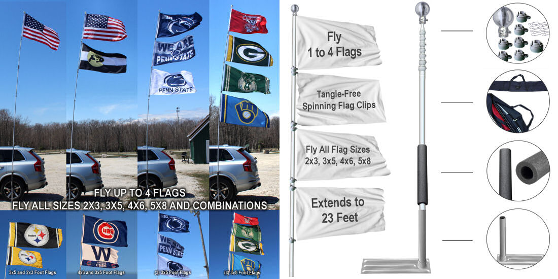 Tailgate Flagpoles with heights of 16', 20', and 28 feet