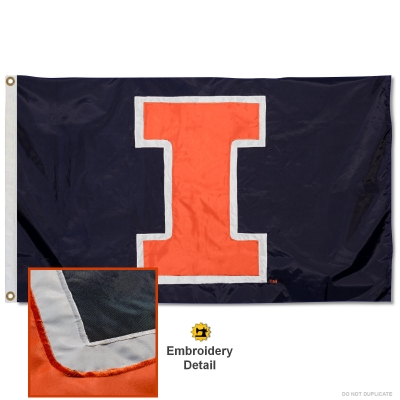 Illinois Fighting Illini Large Victory Badge 3x5 College Flag