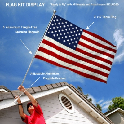 5/' Wood Flag Pole Kit Wall Mount Bracket With 3x5 Qatar Country Polyester Flag